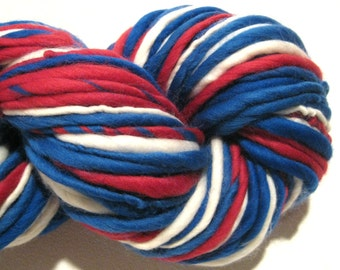 Super Bulky Handspun Yarn Pats 108 yards merino wool red white and blue yarn Patriots waldorf doll hair knitting supplies crochet supplies