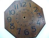 Vintage Clock Face, Wooden Clock Face, Avante Quartz, MOM, Octagon Shape, Beveled Edge, Vintage Home Decor, Clock Project, Supplies, Retro