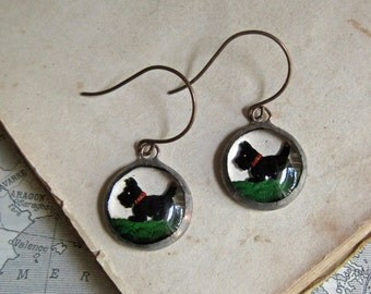 Scottie Dog Reverse Painted Glass Earrings Unique Jewelry