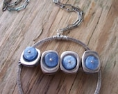 Sterling Silver Blue Kyanite Necklace - Lilypond Collection - Kyanite Necklace - Circle Pendant