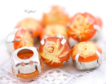 Orange 12mm Resin Reverse Carved Flower Rose Montee Sew On - 4