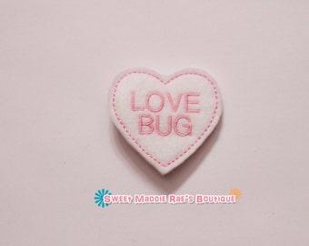 LOVE BUG Conversation Heart Hair Clip (felt)