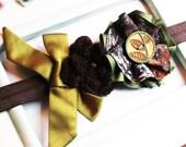 CLEARANCE SALE New Mossy Oak Break Up Camo Flower Rosette Stretch Headband