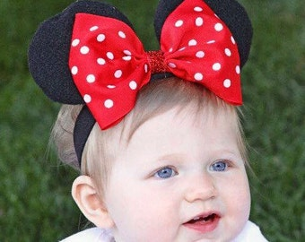 Baby Minnie Ears Girls Stretch Headband Red Polka Dot Bow Mouse Ears Band Photography Prop Halloween costume prop