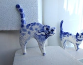 Angry Cat Brooch-  Handpainted Delft porcelain Brooch -  Cat - pin- Holland- blue and white - Cat lover Gift