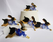 Rabbit Brooch -  Leaping bunny with breton  stripes - Handpainted Porcelain with 24 carat gold luster