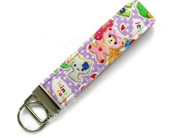 Kawaii Keychain Key Ring Fabric Key Fob Small Wristlet Pastel Sweet Icing Sugar Cookies Cat Bear Mini Keying Key Chain