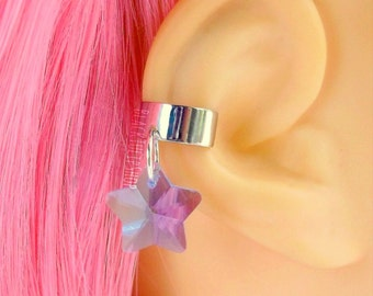 Ear Cuff Earring Blue Glass Star Pretty Magical Girl Jewelry Princess Earring Ear Cuff for Teen Women
