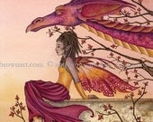Greeting The Dawn dragon fairy 8X10 PRINT by Amy Brown