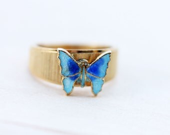 Gold and Blue Vintage Butterfly Ring - Size 4,5,6
