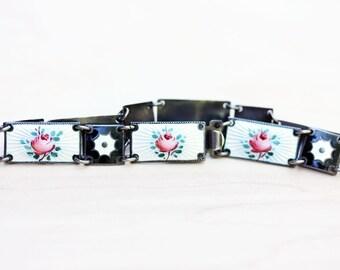 Sterling Silver Black and White Enamel David Andersen Flower Bracelet