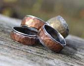 """Mens Hammered Wedding Band Ring Item #100102 - """"Rugged Band"""""""