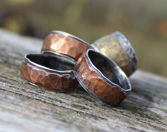 "Mens Hammered Wedding Band Ring Item #100102 - ""Rugged Band"""