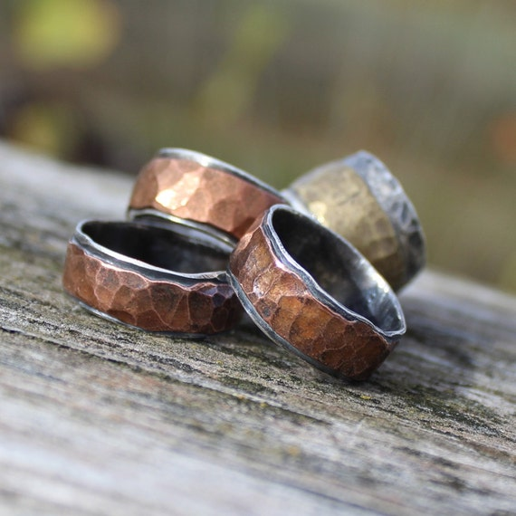 mens wedding rings etsy mens hammered wedding band ring item 100102 rugged 5815