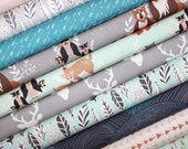 Hello, Bear, Fabric, Bundle, Blue, Mint, Gray, Black, Brown, Deer, Baby, Boy, Unisex, Baby, Girl, FREE SHIPPING to US, Custom Cuts, 8 yds