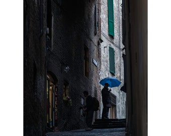 Siena Blue Fine Art Photography Umbrella street photography Italy ancient streets rainy dark street blue umbrella cobbled street historic
