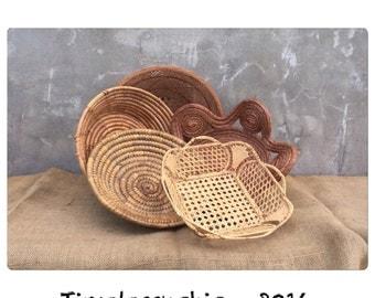 Woven Flat Baskets - Native American Decor - Decorative Baskets - Aztec - Southwestern Decor - Navajo Decor - Bohemian Decor - Chic