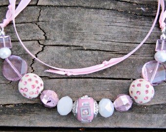 Glamour Ribbon and Crystal Necklace