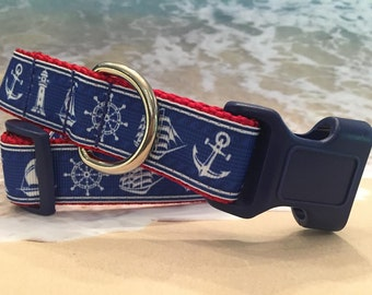 Nautical Dog Collar, In M, L, XL, with Lighthouses, Anchor and Ships