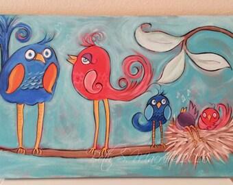 Whimsical Birds | Acrylic Painting | Original Painting | Bird Family Tree | Painting on Canvas | Bird Nest | Art with Birds | Nursery Decor