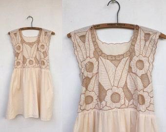 SALE Vintage 70s Embroidered Full Skirt Mini Dress S M