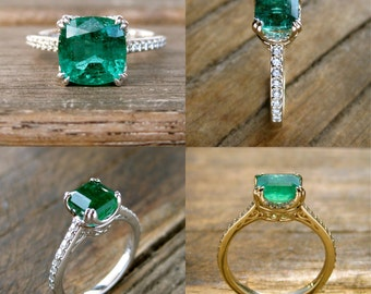 Order Your Basket-Style Engagement Ring with Emerald of Your Choice