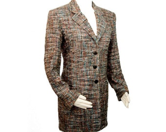 1980s CHANEL Boutique Gray Graphite Turquoise and Coral Tweed Womens Blazer Jacket Coat