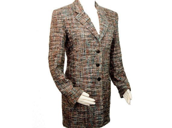 1980s CHANEL Boutique Gray Graphite Turquoise and Coral Tweed Womens Blazer