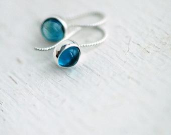 Classic London Swiss or Sky Blue topaz silver earrings