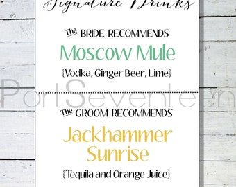 Wedding Signature Drink Menu - Bride and Groom Signature Drinks - Digital File