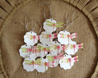 Dragonfly Gift Tags Baby Shower Birthday Gift Tags (12CT)
