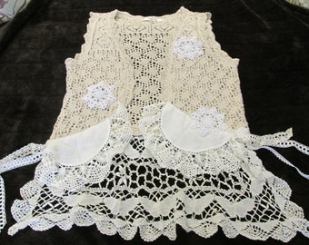 upcycled ecru crochet VEST refashion ladies M vintage doilies and lace artsy