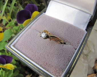 Vintage Art Deco 14Kt Yellow Gold Solitaire Diamond Wedding  Set /14K Solitaire Diamond  Ring Beautiful Engagement/Wedding Rings
