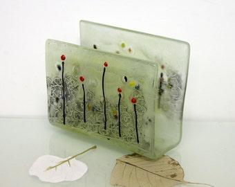 Napkins Holder, Fused Glass Slumped ivory Tone landscape, black flowers sgraffito, Kitchen Decor, Table Decor Hostess gift