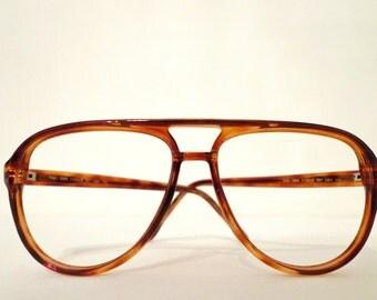 Big NOS Titmus Z87 Whiskey Aviator Frame Tortoise Brown Eyeglass Sunglass Hip Hop Sunnies 70s 80s Pilot Driver Shooter Designer Disco Nerd