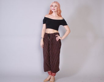 Vintage 70s HAREM PANTS / 1970s Ethnic Indian India Cotton Gauze High Waist Trousers