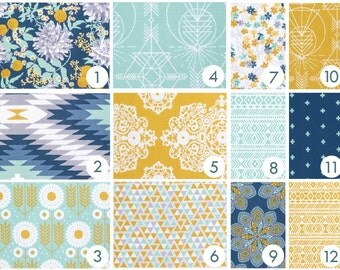 Dreamcatcher Crib Bedding - Navy Blue, Mint, Aqua, Gold