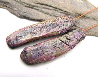 Awhape -  Flat Pods Polymer Clay Golden, Mauve Black Crackle Textured Lightweight Copper Wires Numi- Poly Pair (2)