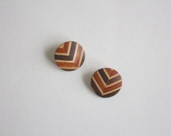 natural wood herringbone earrings
