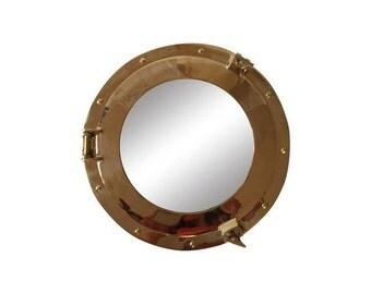 Large Vintage Brass Porthole Ship Mirror / Beach House Decor