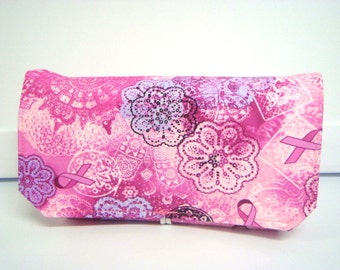 Fabric Coupon Organizer /Budget Organizer Holder - Attaches to Your Shopping Cart -  Breast Cancer Awareness