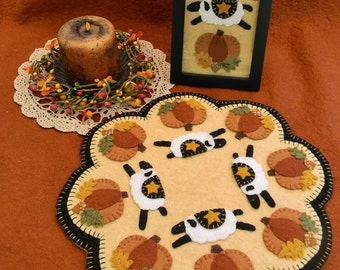 Autumn Sheep Penny Rug/Candle Mat MAILED PAPER PATTERN