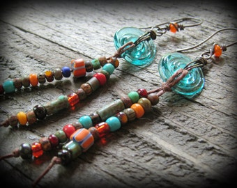 Aqua Glass Disk Beads with Rustic Hand Strung Beaded Dangles, BOHO Earrings, Hippie Chic, Summer Fashion Accessories,  Gifts for her