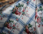 Reserved for Pposey5 Waverly White House Decorator Fabric Cottage Roses Country Shabby Pink and Blue Plaid Floral BTY