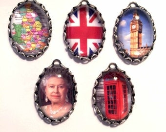 TRIBUTE to ENGLAND/BRITAIN Handmade Photo Charms-British charms-Uk Charms-British Flag Charm-QueeN Elizabeth Charm-Red Phone Booth-Big Ben