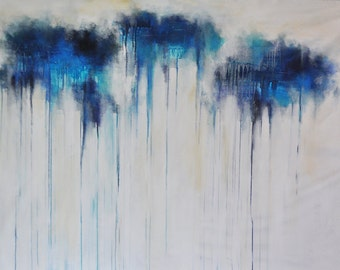 """Original Abstract Painting LARGE 50x35"""" Modern Art Blue Aqua White Winter Landscape UNSTRETCHED Rolled in a tube"""