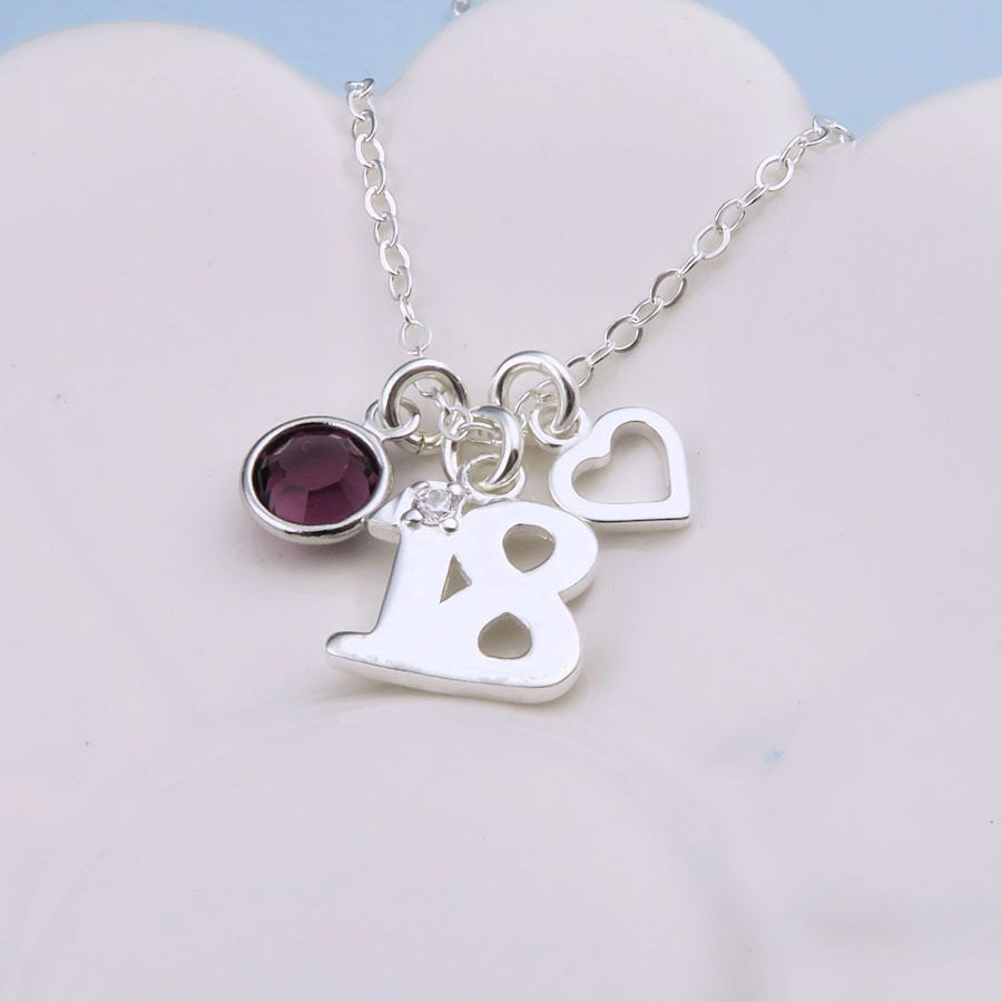 18th Birthday Heart Initial Bracelet 18th Birthday Jewelry: Silver 18th Birthday Necklace With Heart Sterling Silver