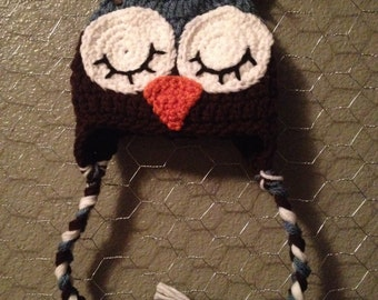 Newborn Owl Hat- blue and brown