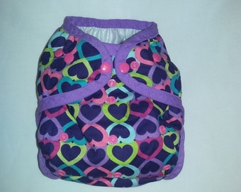 Diaper Cover made with heart fabric