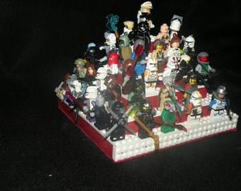 Handcrafted Wooden Star War Legos Minifigure Pyramid Display Shelf Red with White  2X Legos plates